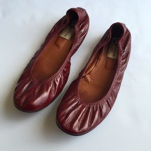 Lanvin Red Patent Leather Flats 41